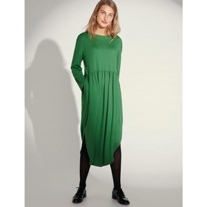 Fuyu Wide Nk Curved Hem Dress Green
