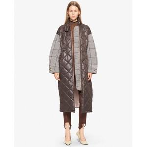 Deadra Padded Check Slv Coat Autumn Brown