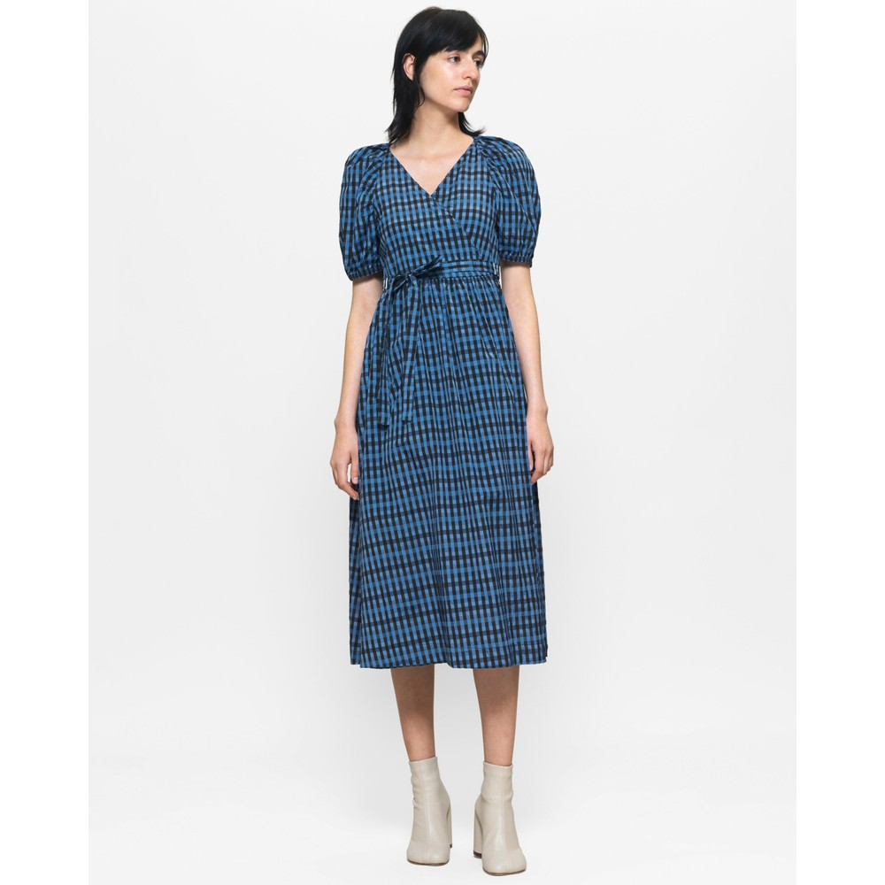 Baum Und Pferdgarten Adalaine Gingham Wrap Dress Blue/Black