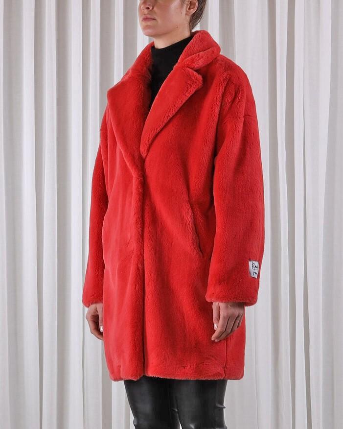 Rino & Pelle Joela Faux Fur Coat Cranberry