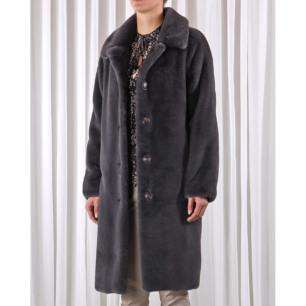 Rino & Pelle Zonna Faux Fur Long Coat Anthracite
