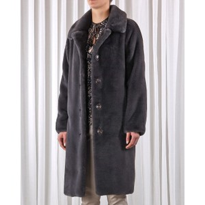 Zonna Faux Fur Long Coat Anthracite