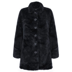 Rino & Pelle Nonna Faux Fur Coat in Navy