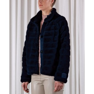 Lella Quilted Faux Fur Jacket Navy