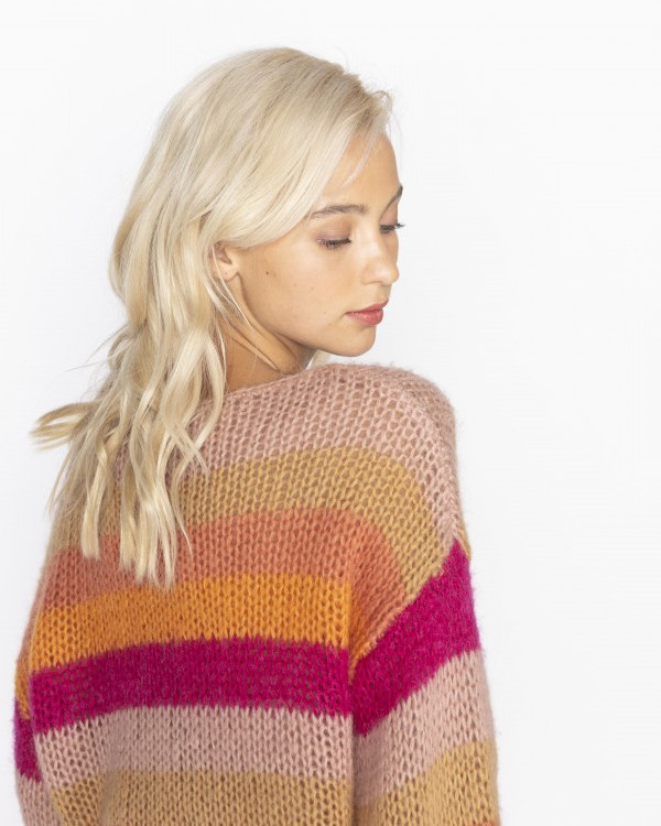 Jeff Music Multi Striped Jumper Fuschia