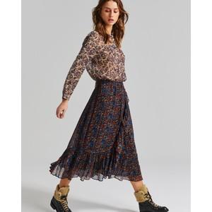 Moliin Yrsa Floral Ruffled Wrap Skirt Peacoat/Rust