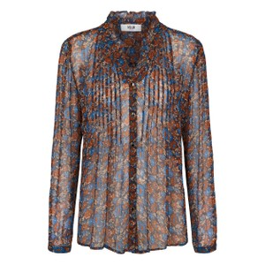 Rebecca Sheer Floral Blouse Peacoat/Rust