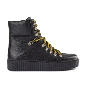 Agda Lace Up Boot-Leather Black