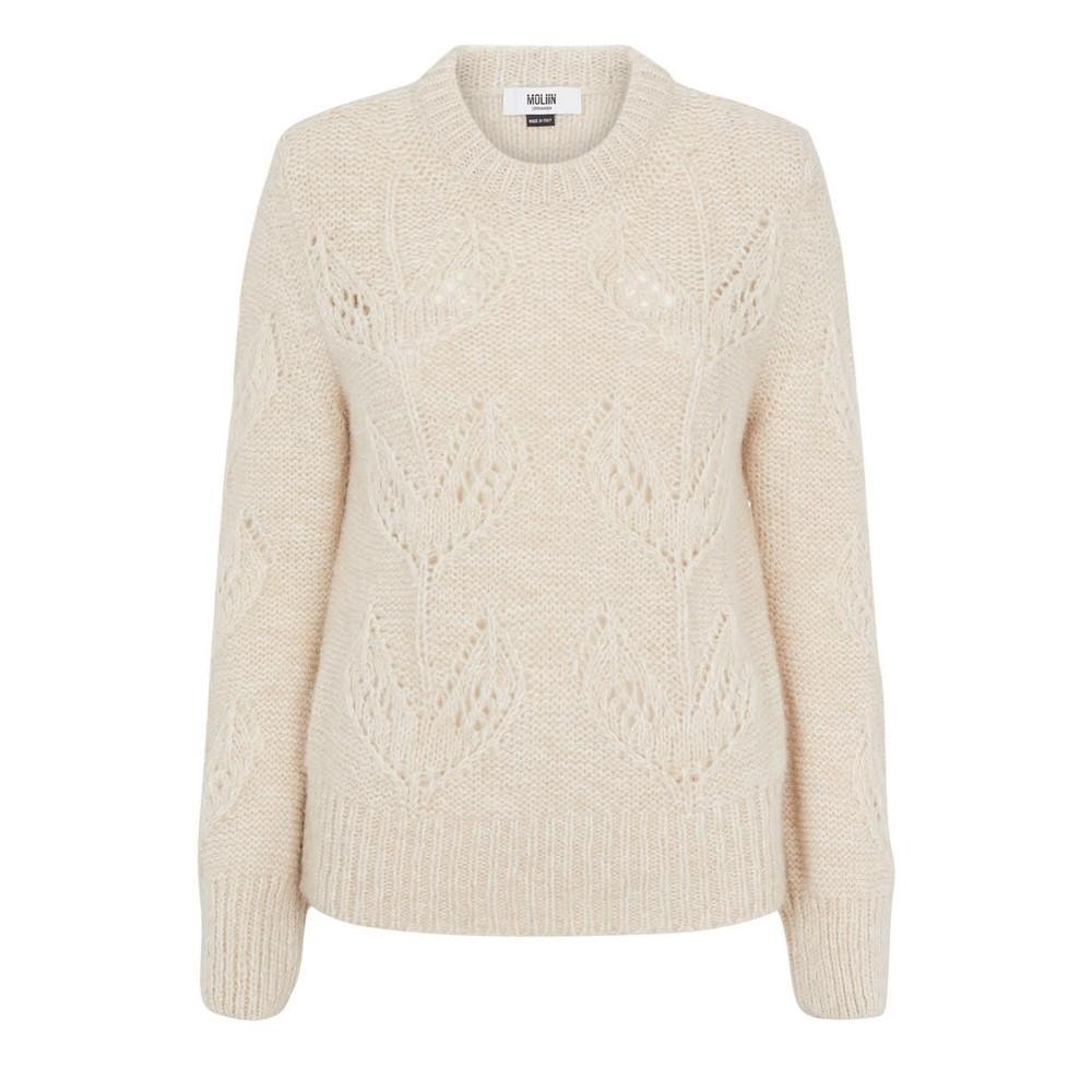 Moliin Kirsten Leaf Knit Jumper Off White