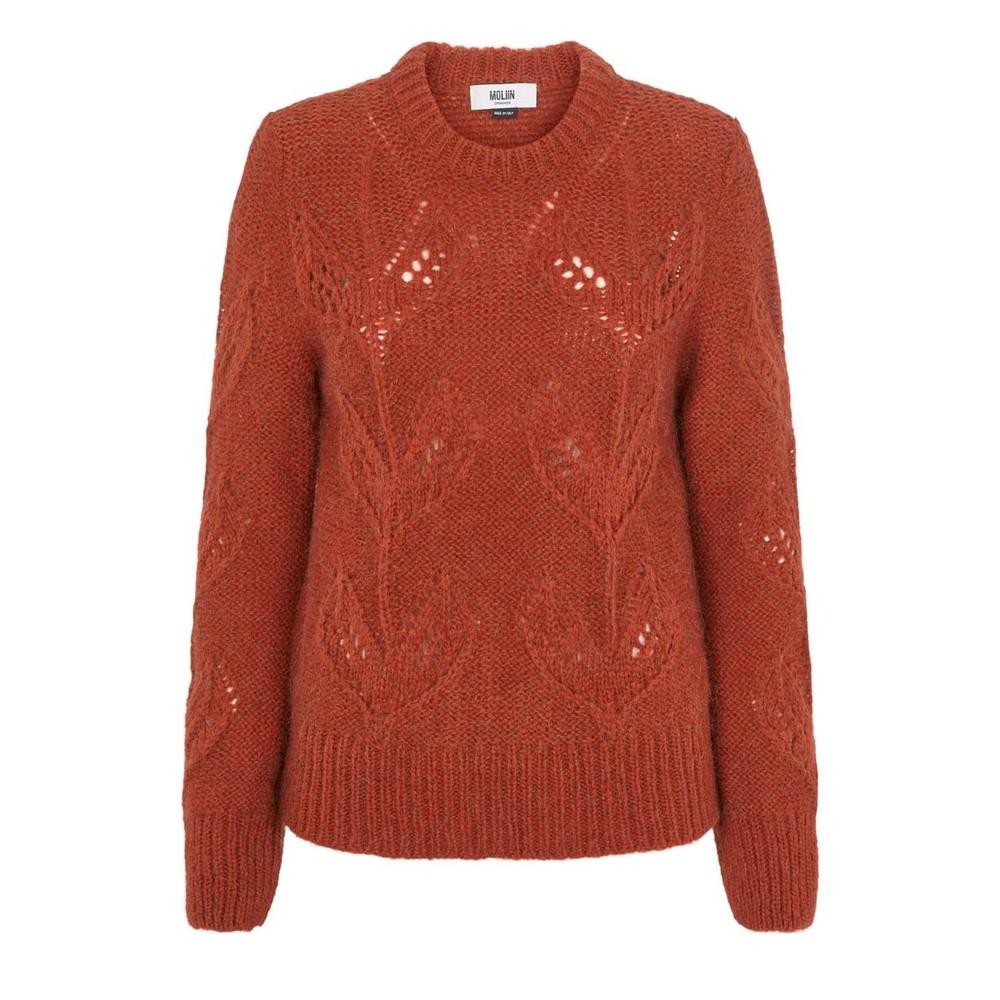 Moliin Kirsten Leaf Knit Jumper Rust Melange