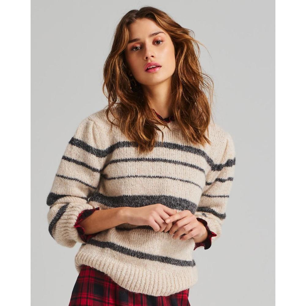 Moliin Sofie Stripe Pleat Shldr Knit Off White/Charcoal