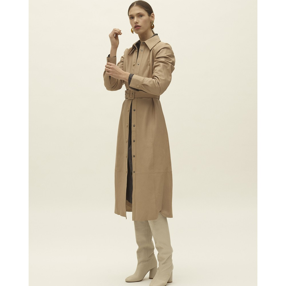Levete Room Globa Leather Belted Dress Taupe