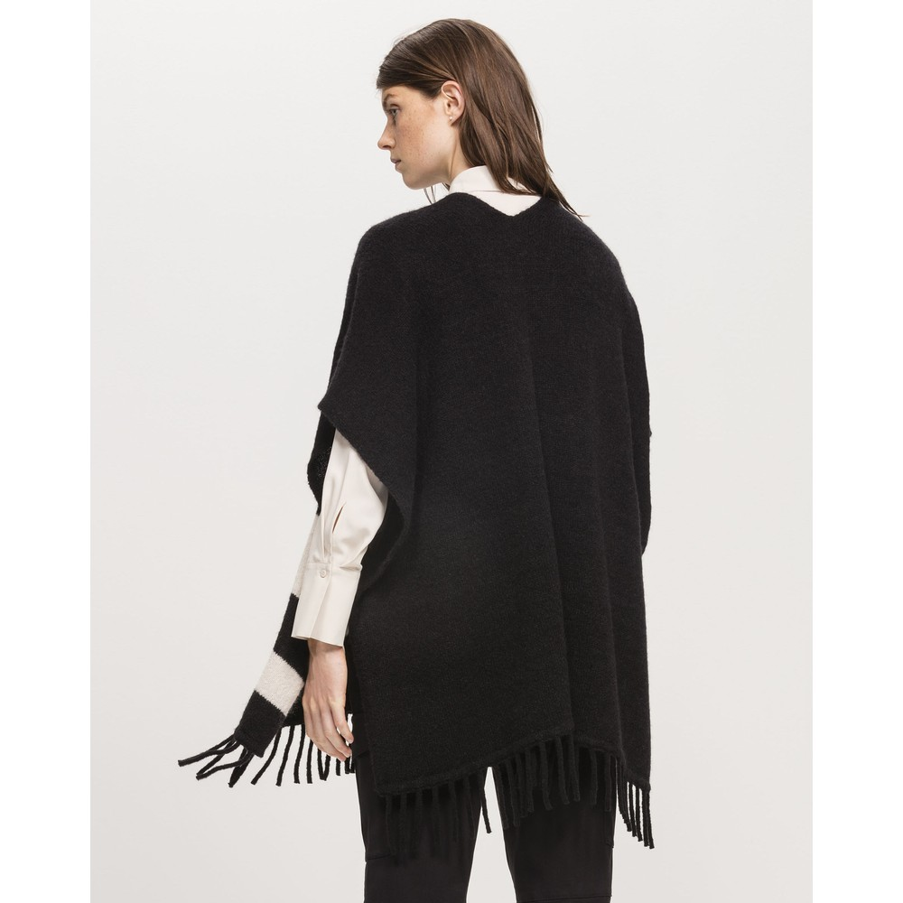 Luisa Cerano Block Stripe Fringed Cape Black/Ivory