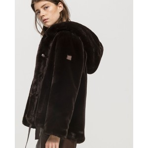 Hooded Faux Fur Jacket Chocolate