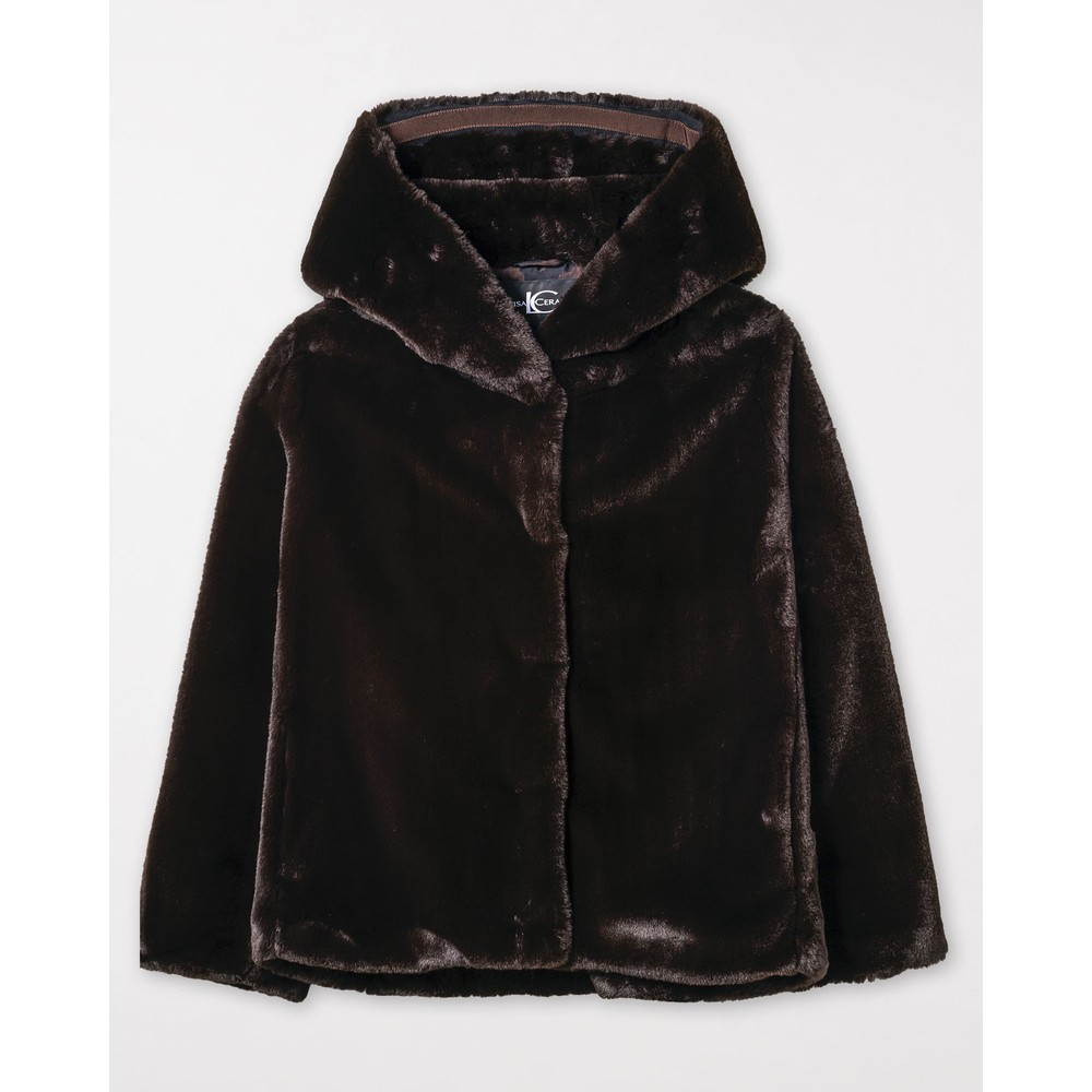Luisa Cerano Hooded Faux Fur Jacket Chocolate