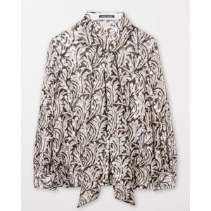 Luisa Cerano Tie Nk Blouse w/gold Dots Black/Ivory/Gold