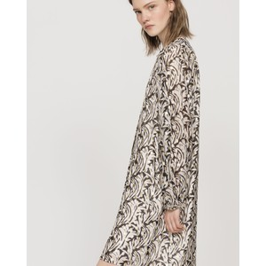 Luisa Cerano L/S Print Dress w/Gold Dots Black/Ivory/Gold