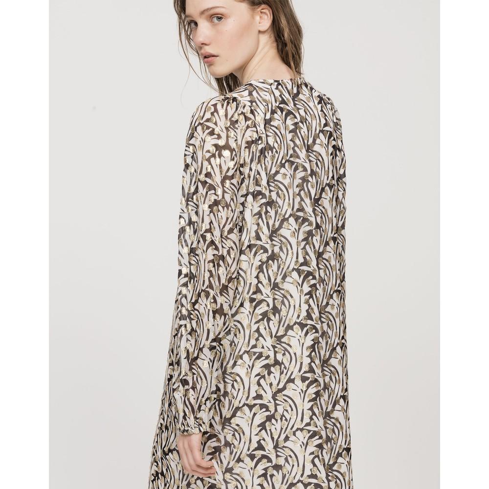 Luisa Cerano L/S Print Dress w/Gold Dots Black/Ivory/Gold