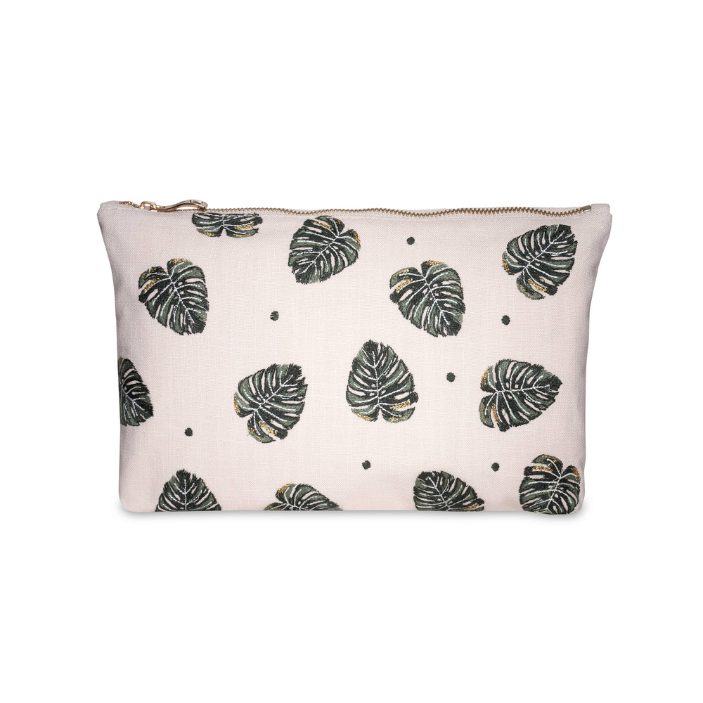 Elizabeth Scarlett Jungle Leaf Wash Bag -100% Cotton Rose Pink
