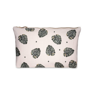 Jungle Leaf Wash Bag -100% Cotton Rose Pink