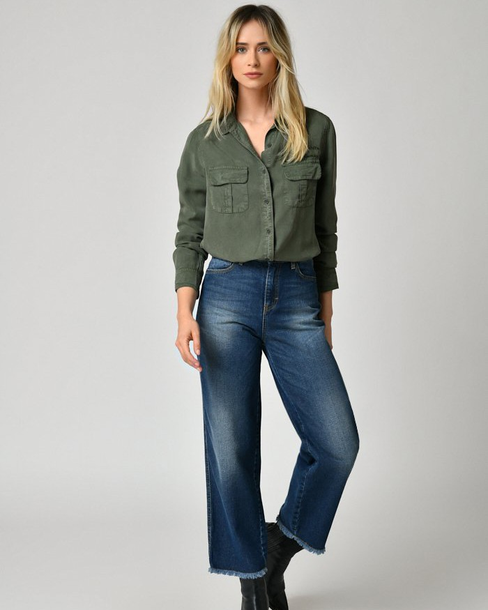Five 2 Pkt Fringe Detail Shirt Ivy Green