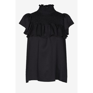 Malua S/L Hi Nk Ruffled Top Black