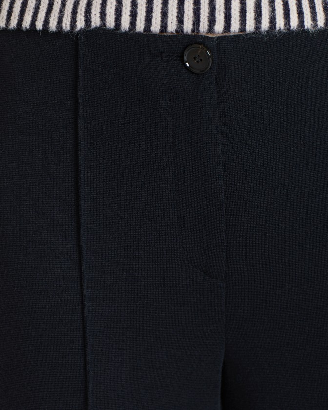 Marc Cain Wide Leg Crop Trousers Midnight Blue