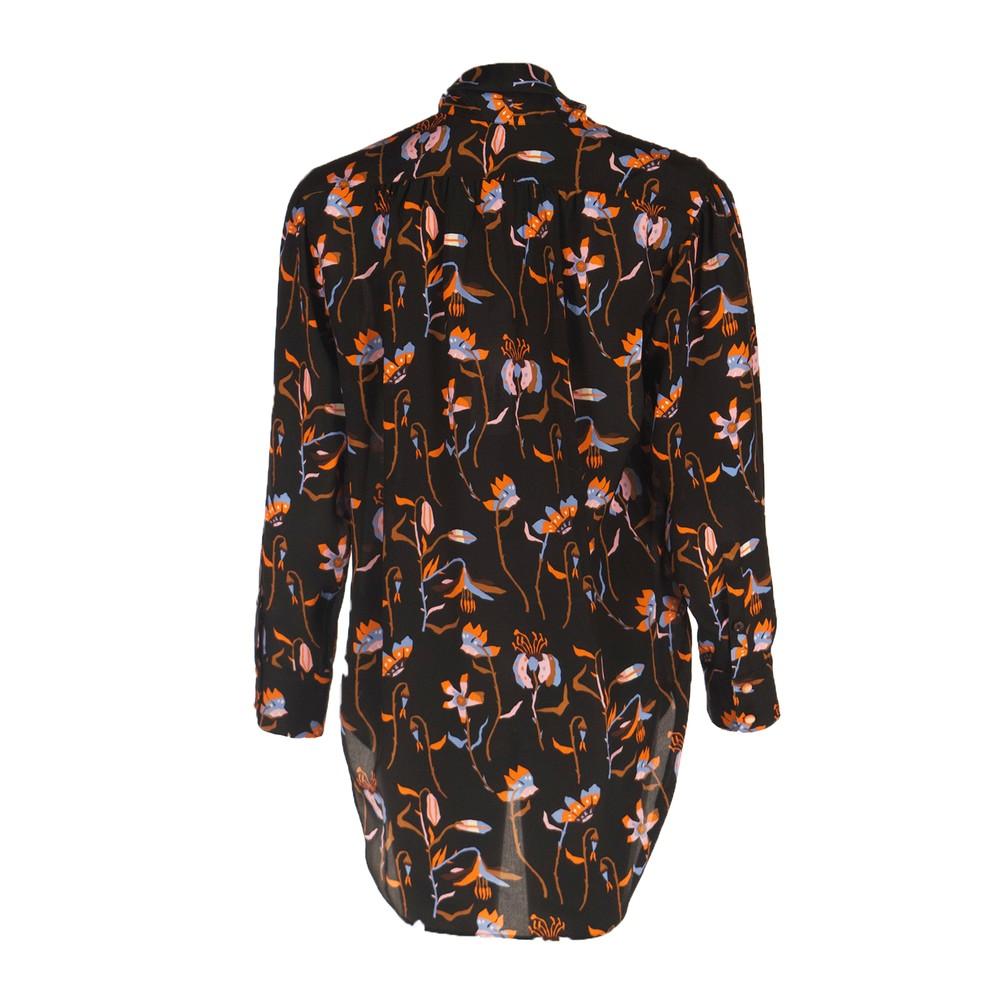 Paul Smith Womens Tie Neck Floral Silk Blouse Black/Orange/Multi