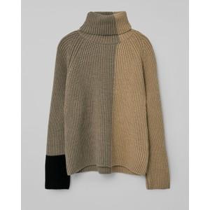 Loreak Lodi Blck Col Roll Nk Knit Taupe/Black