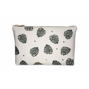 Jungle Leaf Wash Bag -100% Cotton Natural