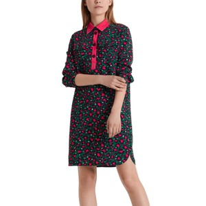 L/ S Leopard Print Tunic Dress Conifer