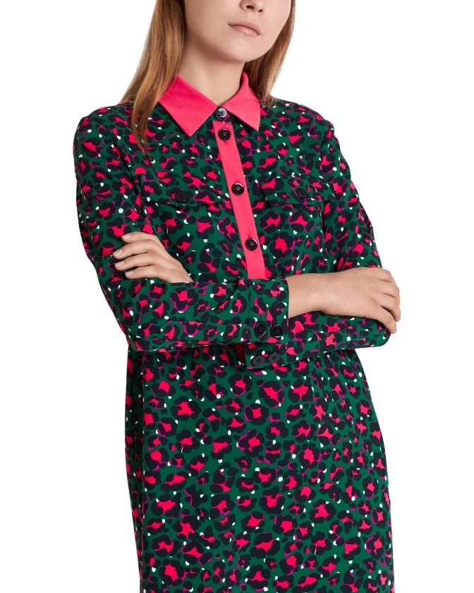 Marc Cain L/ S Leopard Print Tunic Dress Conifer