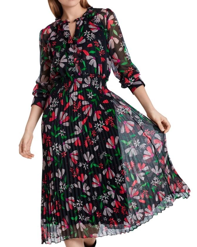 Marc Cain L/S Floral Pleat Skirt Dress Azalea