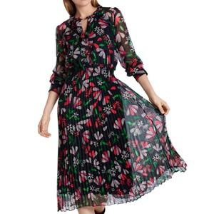 L/S Floral Pleat Skirt Dress Azalea