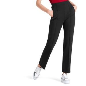 Herringbone Straight Trousers Black