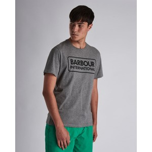 Barbour International Essential Large Logo Tee in Anthracite