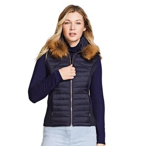 Puffer Gilet with Fur Collar Navy