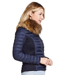 Puffer Jacket Fur Collar Navy