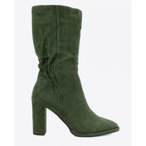 Antracita Mid Calf Suede Boot Dark Green