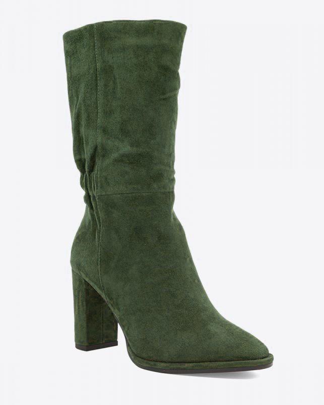 Lola Cruz Antracita Mid Calf Suede Boot Dark Green