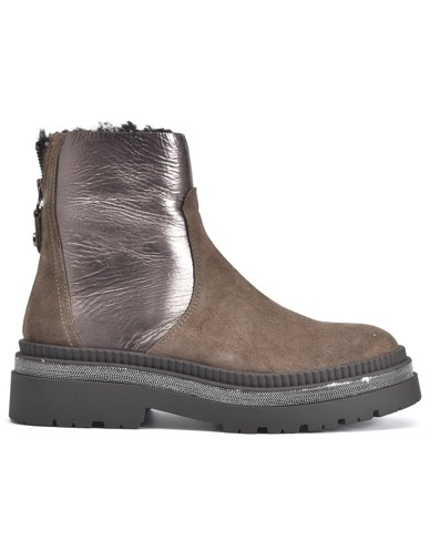 Alpe Metallic Panel Suede Boot Bison