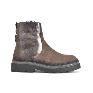 Metallic Panel Suede Boot Bison