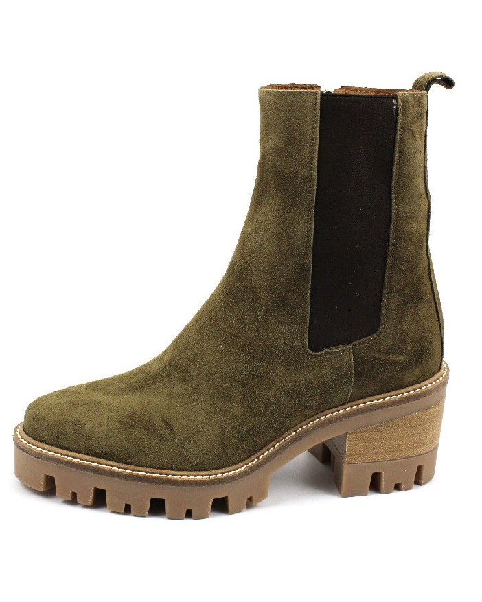 Alpe Chunky Sole Stretch Suede Boot Military