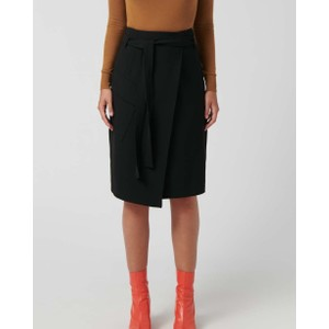 Brief Belted Wrap Skirt Black