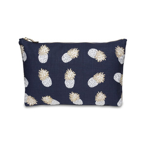 Ananas Wash Bag -100% Cotton Indigo
