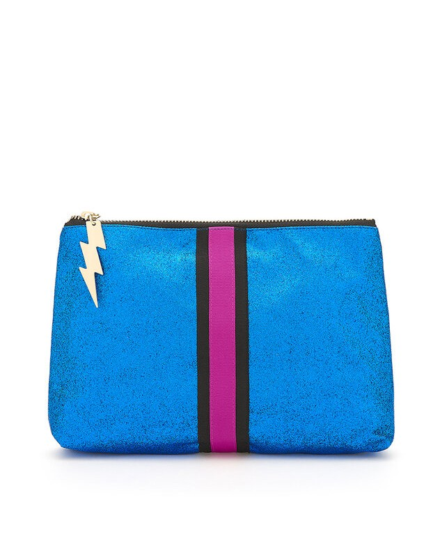 Cockatoo Glitter Clutch Bag Bright Blue