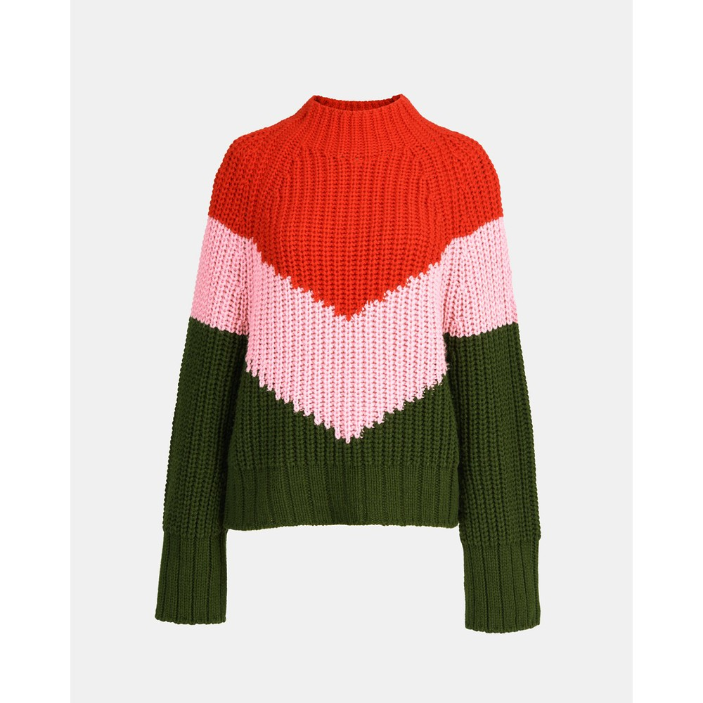 Essentiel Antwerp Wavinci Block V Chunky Knit Red Carpet/Pink/Green