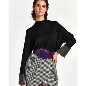 Wrass Emb Cuff Boxy Sweater Black
