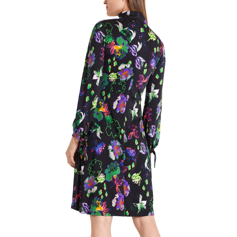 Marc Cain L/S Floral Ruched Wst Dress Black