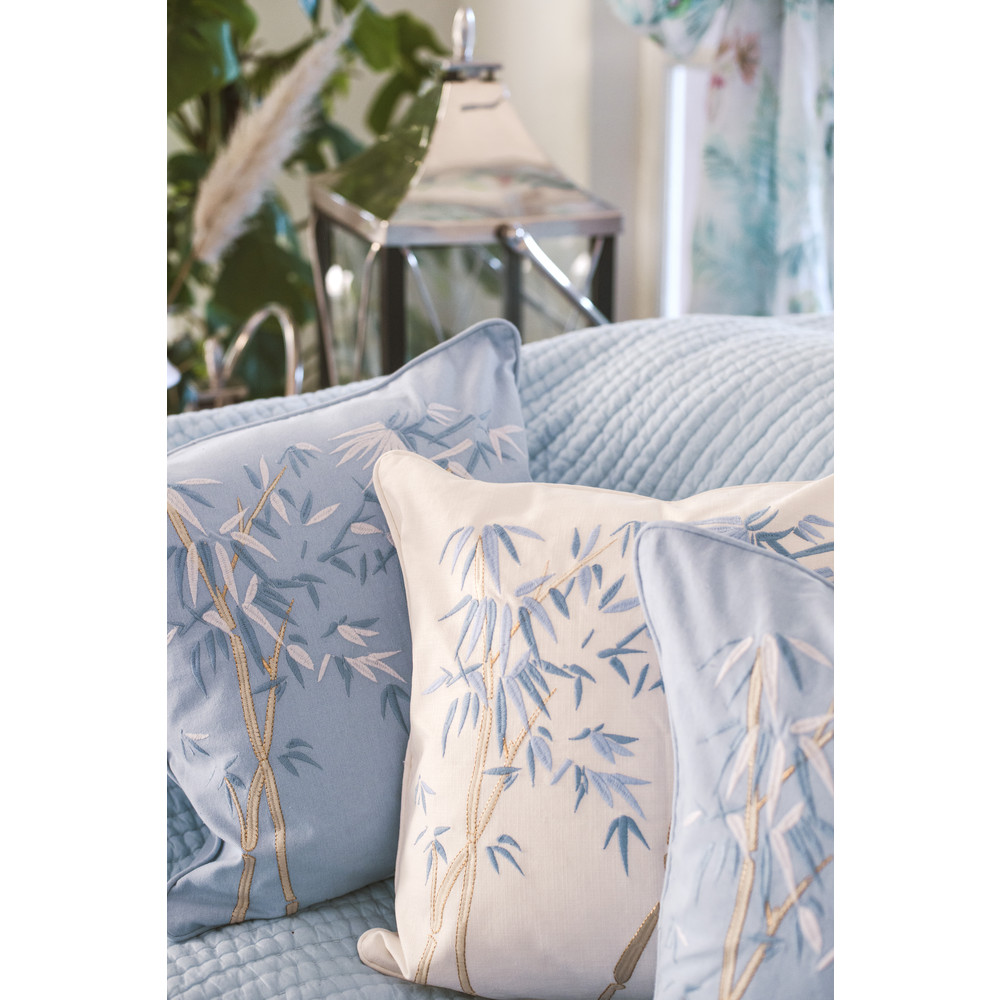 Elizabeth Scarlett Bambou Cushion -100% Cotton Chambray